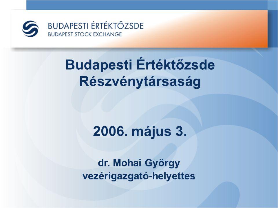 Budapesti Értéktőzsde Részvénytársaság 2006. május 3. dr. Mohai György vezérigazgató-helyettes