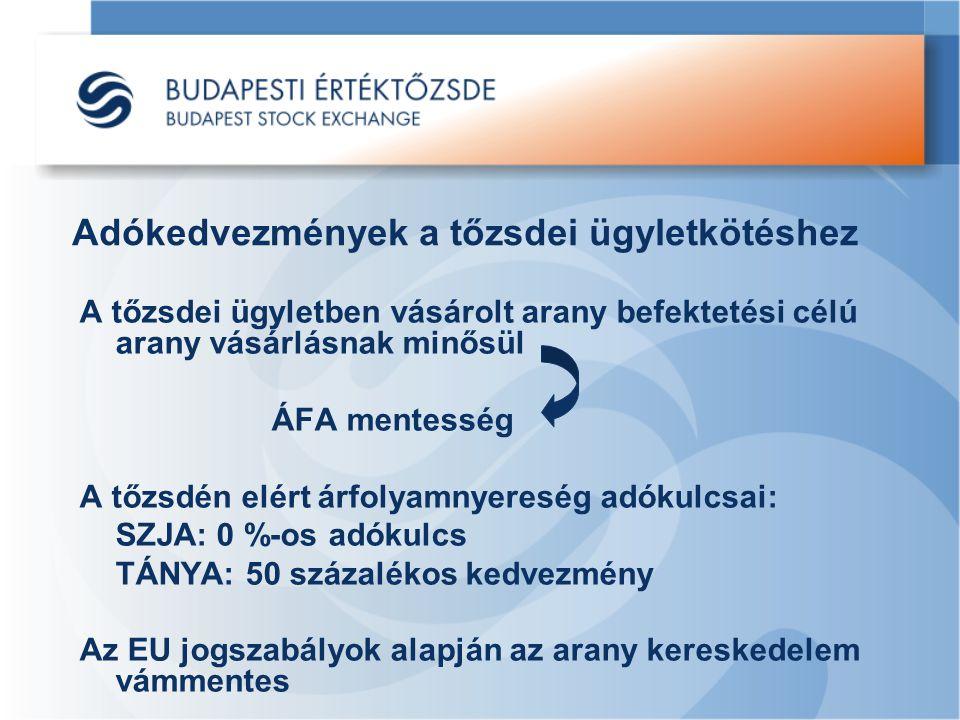 Adókedvezmények a tőzsdei ügyletkötéshez A tőzsdei ügyletben vásárolt arany befektetési célú arany vásárlásnak minősül ÁFA mentesség A tőzsdén elért árfolyamnyereség adókulcsai: SZJA: 0 %-os adókulcs TÁNYA: 50 százalékos kedvezmény Az EU jogszabályok alapján az arany kereskedelem vámmentes