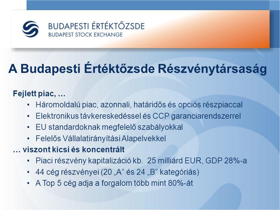 Fejlett piac, … Háromoldalú piac, azonnali, határidős és opciós részpiaccal Elektronikus távkereskedéssel és CCP garanciarendszerrel EU standardoknak