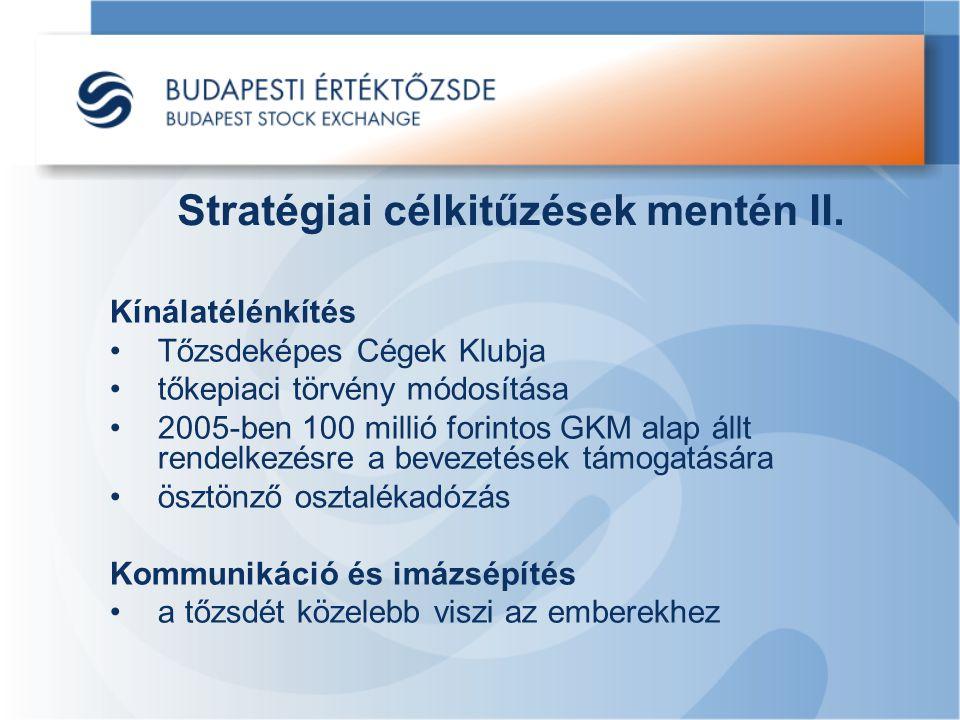 Stratégiai célkitűzések mentén II. Kínálatélénkítés Tőzsdeképes Cégek Klubja tőkepiaci törvény módosítása 2005-ben 100 millió forintos GKM alap állt r