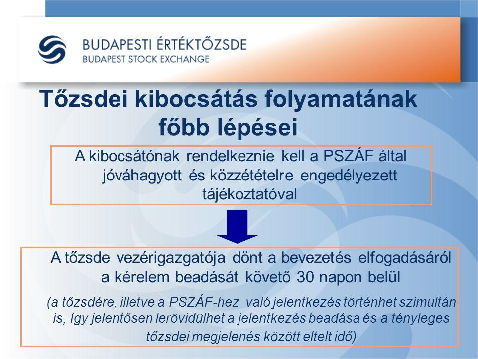 Tőzsdei kibocsátás folyamatának főbb lépései A kibocsátónak rendelkeznie kell a PSZÁF által jóváhagyott és közzétételre engedélyezett tájékoztatóval A tőzsde vezérigazgatója dönt a bevezetés elfogadásáról a kérelem beadását követő 30 napon belül (a tőzsdére, illetve a PSZÁF-hez való jelentkezés történhet szimultán is, így jelentősen lerövidülhet a jelentkezés beadása és a tényleges tőzsdei megjelenés között eltelt idő)