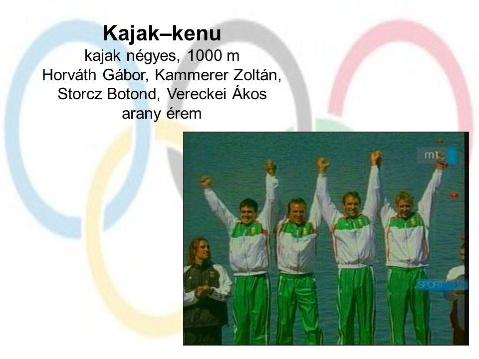 Kajak–kenu kajak négyes, 1000 m Horváth Gábor, Kammerer Zoltán, Storcz Botond, Vereckei Ákos arany érem