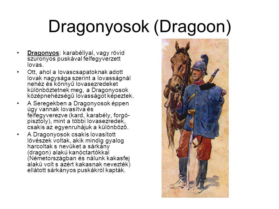 Dragonyosok (Dragoon) A Dragonyosokat többször menetközben, tehát lóháton is támadták, ezért a lóháton való harcra is betanították őket s később mindinkább e harcra fektették a hangsúlyt, ugy hogy később a szuronyokat is elvették tőlük s puska helyett csak oly karabélyt adtak nekik, mint a többi könnyü lovasnak.