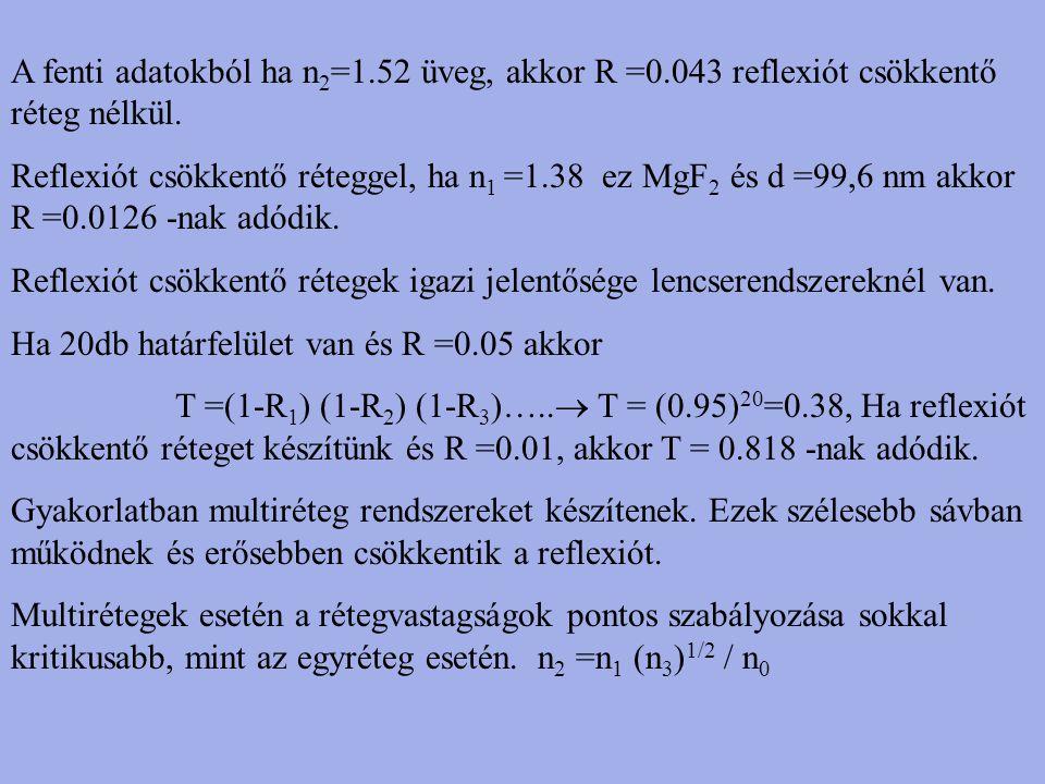 A fenti adatokból ha n 2 =1.52 üveg, akkor R =0.043 reflexiót csökkentő réteg nélkül. Reflexiót csökkentő réteggel, ha n 1 =1.38 ez MgF 2 és d =99,6 n