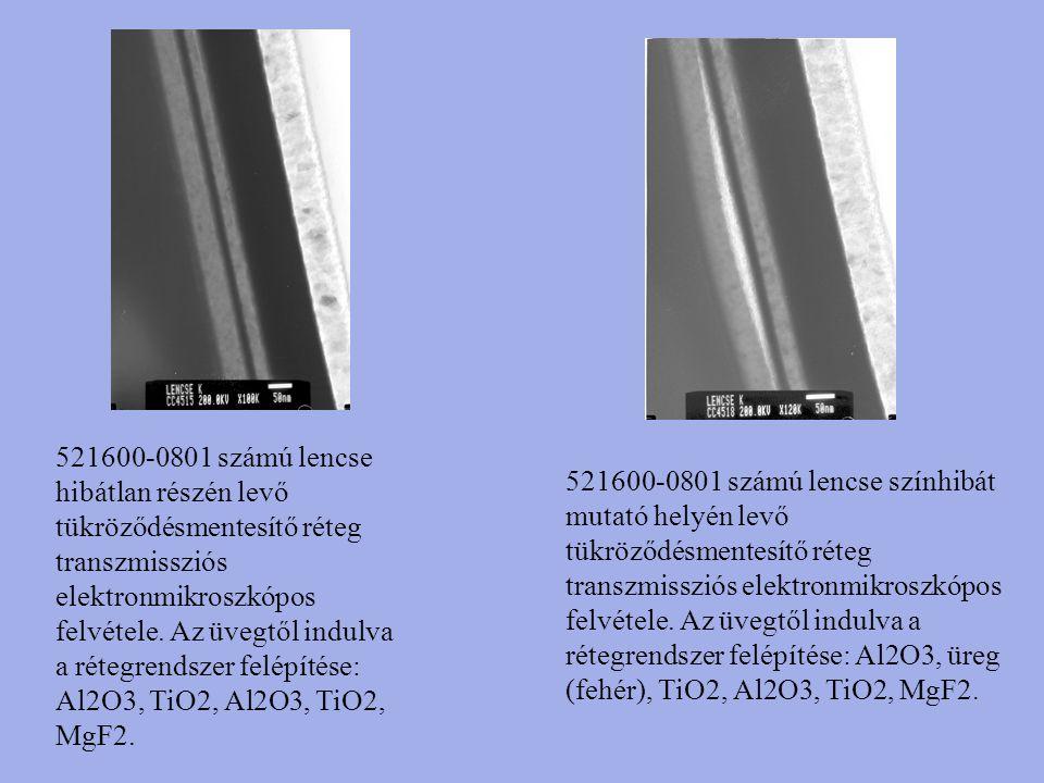 521600-0801 számú lencse hibátlan részén levő tükröződésmentesítő réteg transzmissziós elektronmikroszkópos felvétele. Az üvegtől indulva a rétegrends