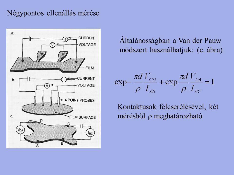 Négypontos ellenállás mérése Általánosságban a Van der Pauw módszert használhatjuk: (c. ábra) Kontaktusok felcserélésével, két mérésből ρ meghatározha