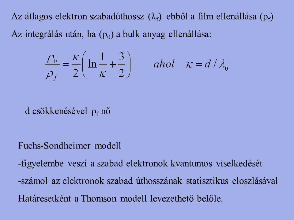 Az átlagos elektron szabadúthossz (λ f ) ebből a film ellenállása (ρ f ) Az integrálás után, ha (ρ 0 ) a bulk anyag ellenállása: d csökkenésével ρ f n