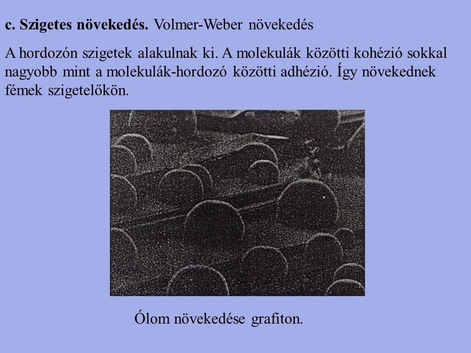 c. Szigetes növekedés. Volmer-Weber növekedés A hordozón szigetek alakulnak ki. A molekulák közötti kohézió sokkal nagyobb mint a molekulák-hordozó kö