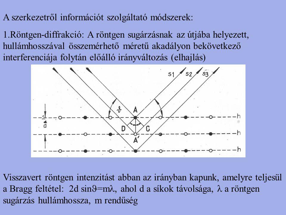 A szerkezetről információt szolgáltató módszerek: 1.Röntgen-diffrakció: A röntgen sugárzásnak az útjába helyezett, hullámhosszával összemérhető méretű