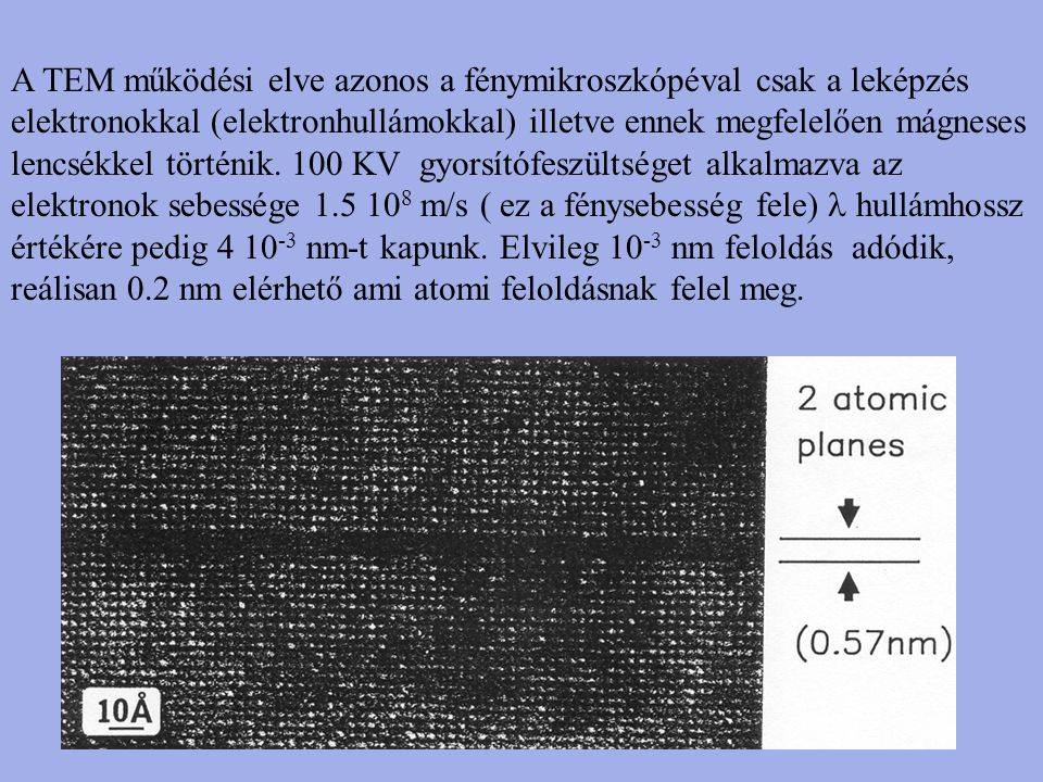 A TEM működési elve azonos a fénymikroszkópéval csak a leképzés elektronokkal (elektronhullámokkal) illetve ennek megfelelően mágneses lencsékkel tört