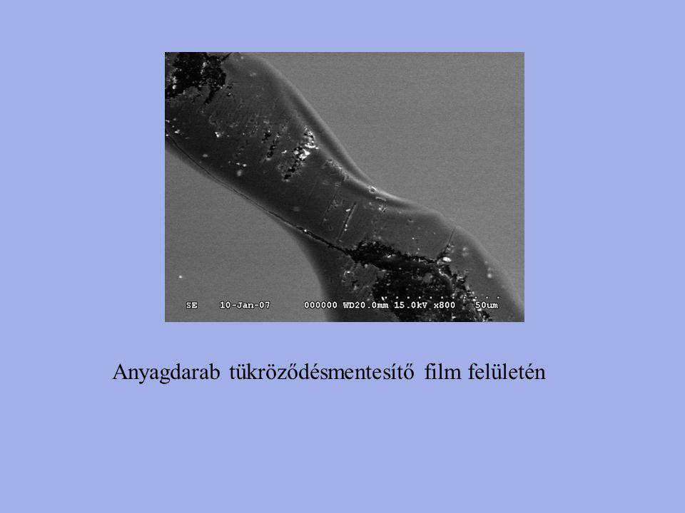 Anyagdarab tükröződésmentesítő film felületén