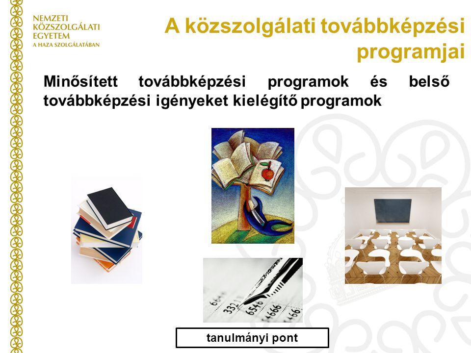 A közszolgálati továbbképzési programjai Minősített továbbképzési programok és belső továbbképzési igényeket kielégítő programok tanulmányi pont