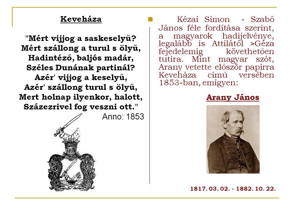 Kézai Simon - Szabó János féle fordítása szerint, a magyarok hadijelvénye, legalább is Attilától >Géza fejedelemig követhetően tutira.