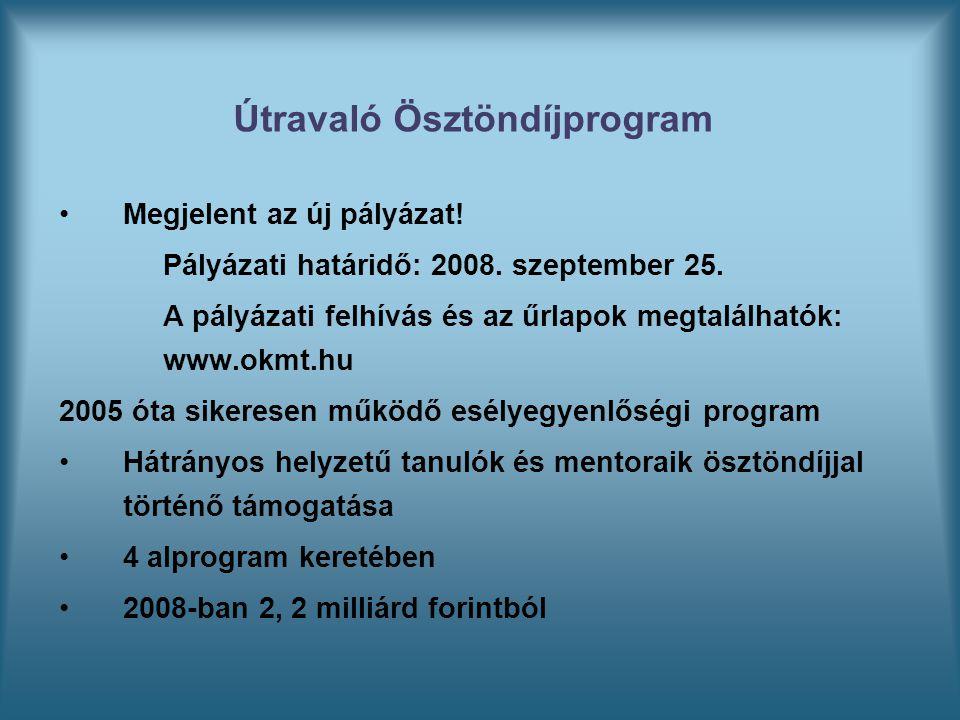 Megjelent az új pályázat! Pályázati határidő: 2008. szeptember 25. A pályázati felhívás és az űrlapok megtalálhatók: www.okmt.hu 2005 óta sikeresen mű