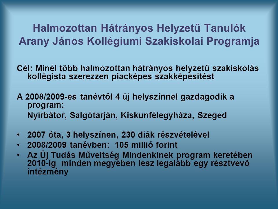 Halmozottan Hátrányos Helyzetű Tanulók Arany János Kollégiumi Szakiskolai Programja Cél: Minél több halmozottan hátrányos helyzetű szakiskolás kollégista szerezzen piacképes szakképesítést A 2008/2009-es tanévtől 4 új helyszínnel gazdagodik a program: Nyírbátor, Salgótarján, Kiskunfélegyháza, Szeged 2007 óta, 3 helyszínen, 230 diák részvételével 2008/2009 tanévben: 105 millió forint Az Új Tudás Műveltség Mindenkinek program keretében 2010-ig minden megyében lesz legalább egy résztvevő intézmény