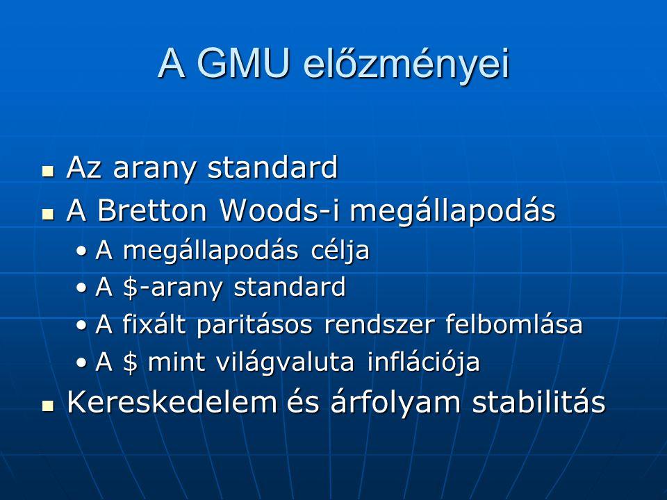 A GMU előzményei Az arany standard Az arany standard A Bretton Woods-i megállapodás A Bretton Woods-i megállapodás A megállapodás céljaA megállapodás
