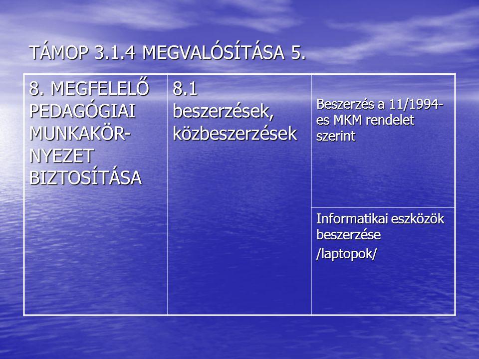 TÁMOP 3.1.4 MEGVALÓSÍTÁSA 5.8.
