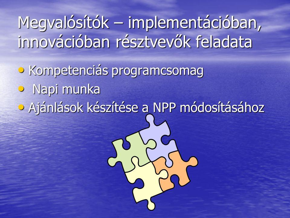 Megvalósítók – implementációban, innovációban résztvevők feladata Kompetenciás programcsomag Kompetenciás programcsomag Napi munka Napi munka Ajánlások készítése a NPP módosításához Ajánlások készítése a NPP módosításához