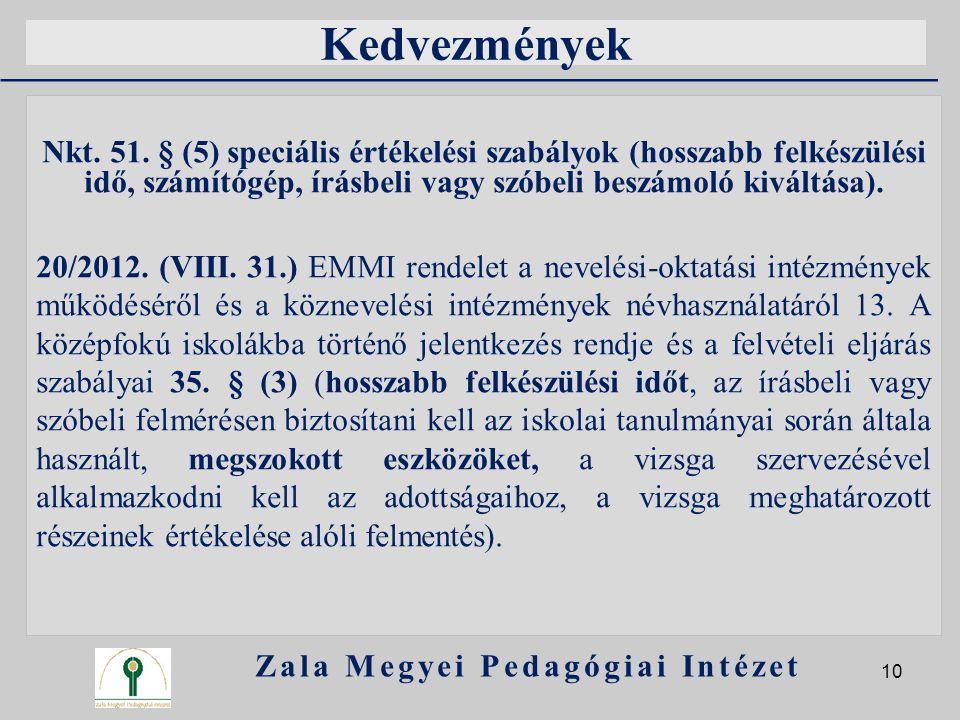 Kedvezmények Nkt. 51. § (5) speciális értékelési szabályok (hosszabb felkészülési idő, számítógép, írásbeli vagy szóbeli beszámoló kiváltása). 20/2012
