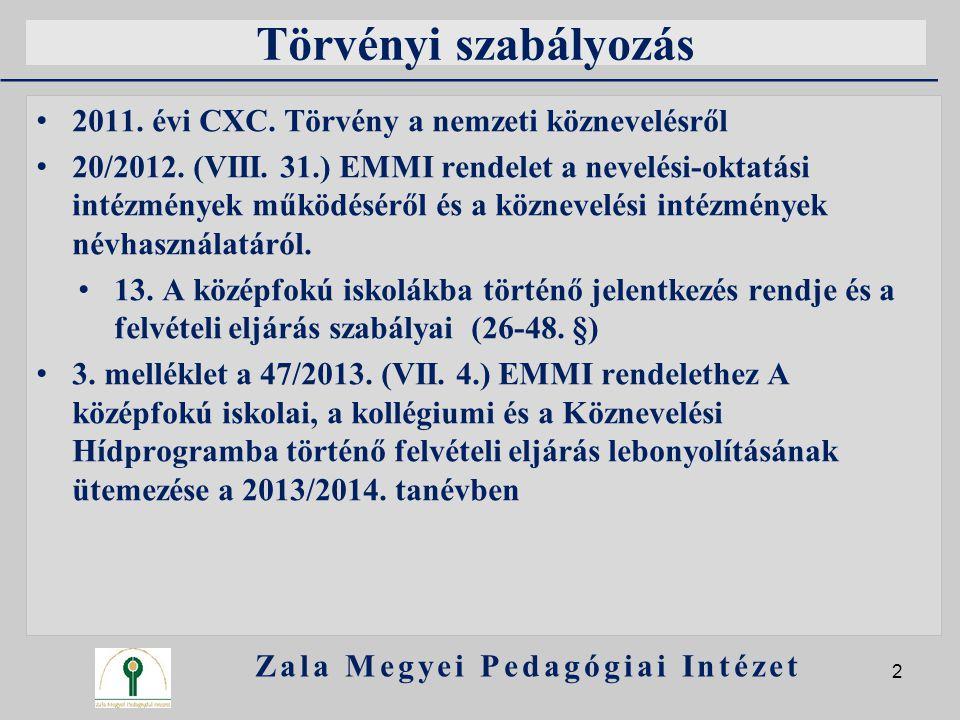 Törvényi szabályozás 2011. évi CXC. Törvény a nemzeti köznevelésről 20/2012. (VIII. 31.) EMMI rendelet a nevelési-oktatási intézmények működéséről és