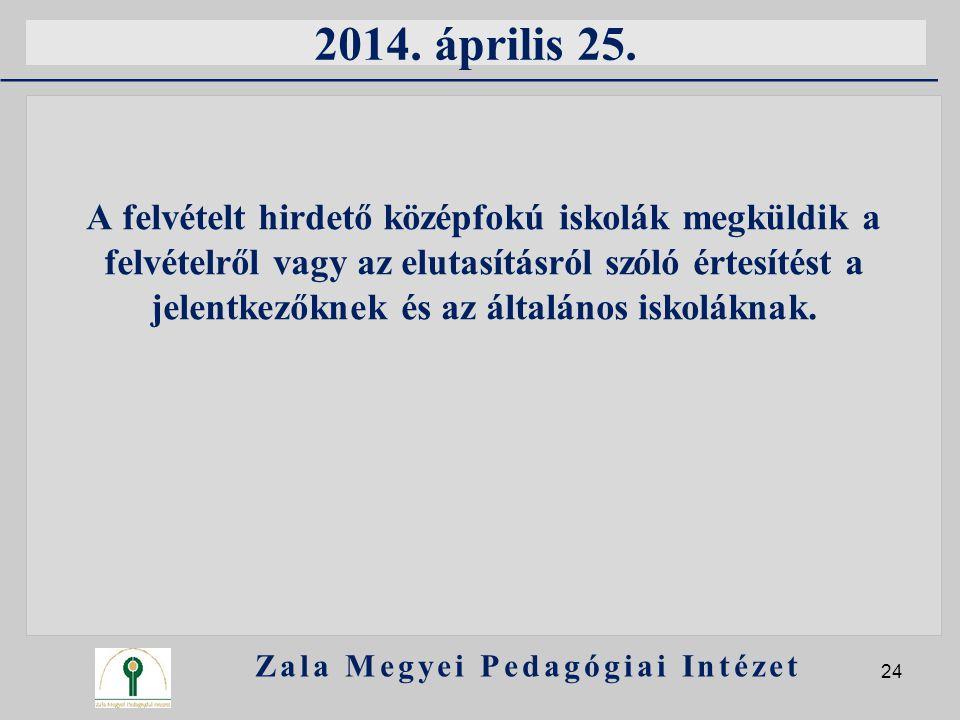 2014. április 25. A felvételt hirdető középfokú iskolák megküldik a felvételről vagy az elutasításról szóló értesítést a jelentkezőknek és az általáno