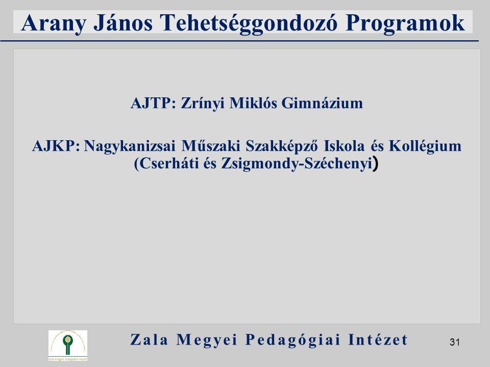Arany János Tehetséggondozó Programok AJTP: Zrínyi Miklós Gimnázium AJKP: Nagykanizsai Műszaki Szakképző Iskola és Kollégium (Cserháti és Zsigmondy-Sz