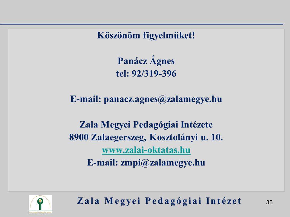 Köszönöm figyelmüket! Panácz Ágnes tel: 92/319-396 E-mail: panacz.agnes@zalamegye.hu Zala Megyei Pedagógiai Intézete 8900 Zalaegerszeg, Kosztolányi u.