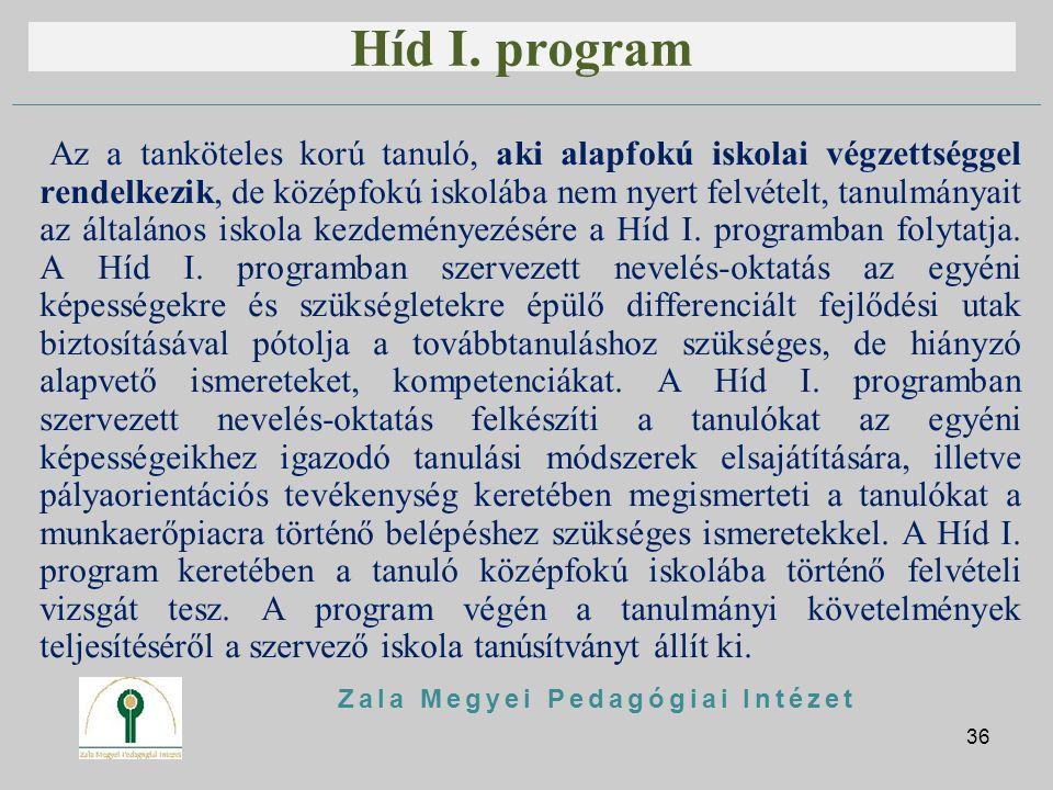 Híd I. program Az a tanköteles korú tanuló, aki alapfokú iskolai végzettséggel rendelkezik, de középfokú iskolába nem nyert felvételt, tanulmányait az