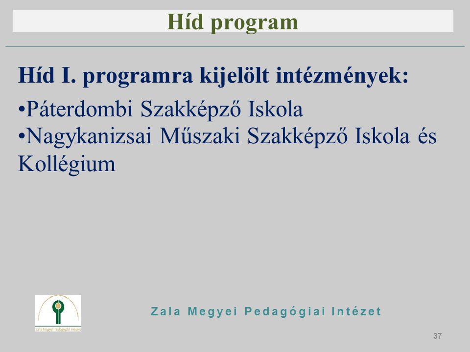 Híd program Híd I. programra kijelölt intézmények: Páterdombi Szakképző Iskola Nagykanizsai Műszaki Szakképző Iskola és Kollégium Zala Megyei Pedagógi