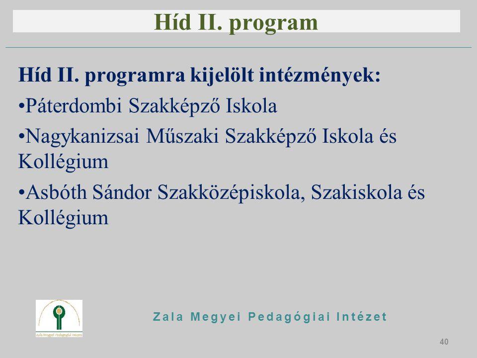 Híd II. program Híd II. programra kijelölt intézmények: Páterdombi Szakképző Iskola Nagykanizsai Műszaki Szakképző Iskola és Kollégium Asbóth Sándor S