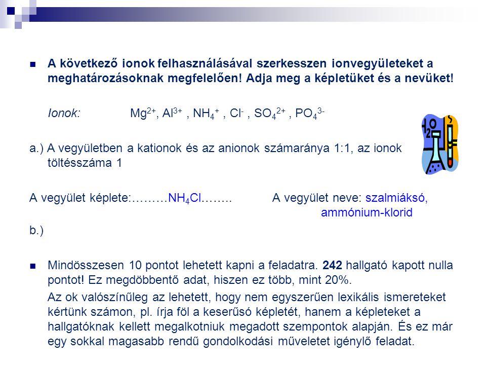 A következő ionok felhasználásával szerkesszen ionvegyületeket a meghatározásoknak megfelelően! Adja meg a képletüket és a nevüket! Ionok: Mg 2+, Al 3