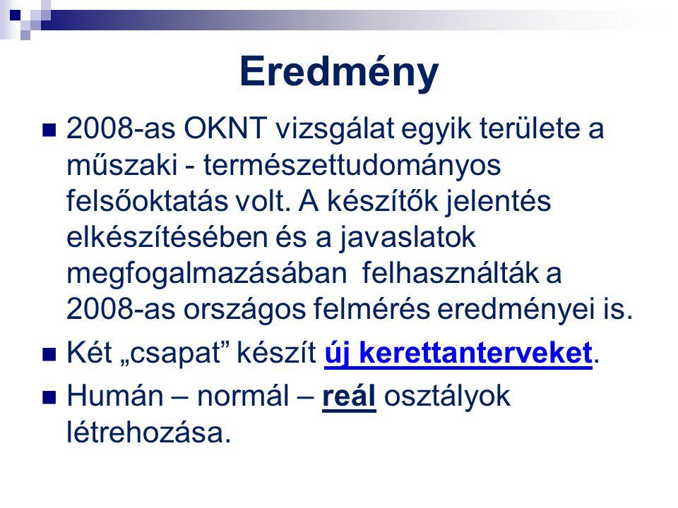 Eredmény 2008-as OKNT vizsgálat egyik területe a műszaki - természettudományos felsőoktatás volt. A készítők jelentés elkészítésében és a javaslatok m