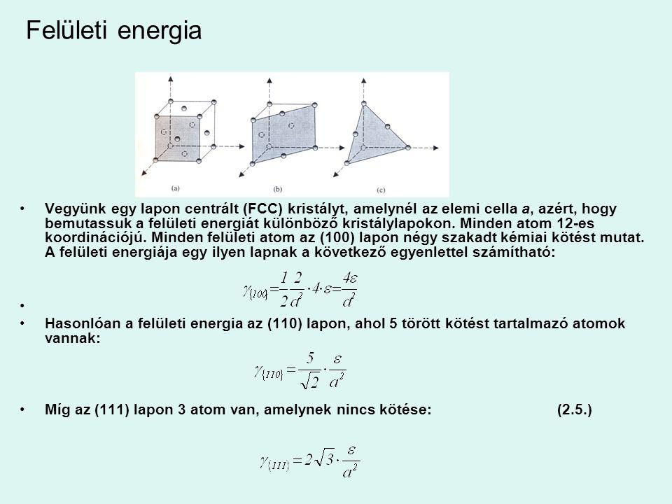 Felületi energia Vegyünk egy lapon centrált (FCC) kristályt, amelynél az elemi cella a, azért, hogy bemutassuk a felületi energiát különböző kristályl