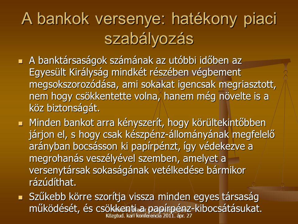 Madarász Aladár Corvinus Egyetem Közgtud. kari konferencia 2011. ápr. 27 A bankok versenye: hatékony piaci szabályozás A banktársaságok számának az ut