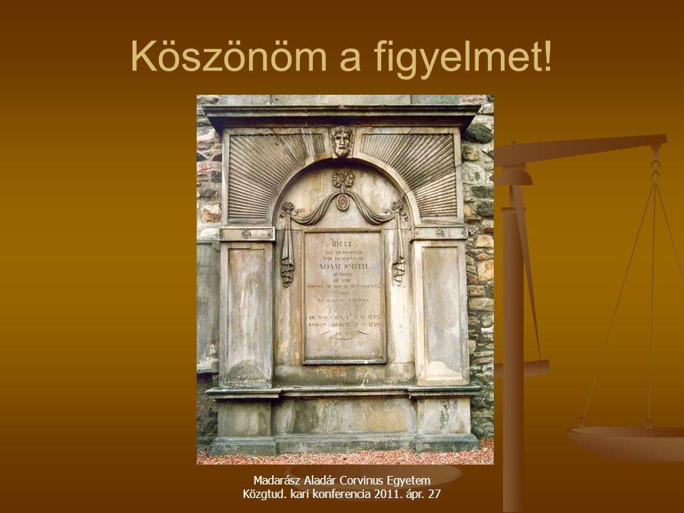 Madarász Aladár Corvinus Egyetem Közgtud. kari konferencia 2011. ápr. 27 Köszönöm a figyelmet!