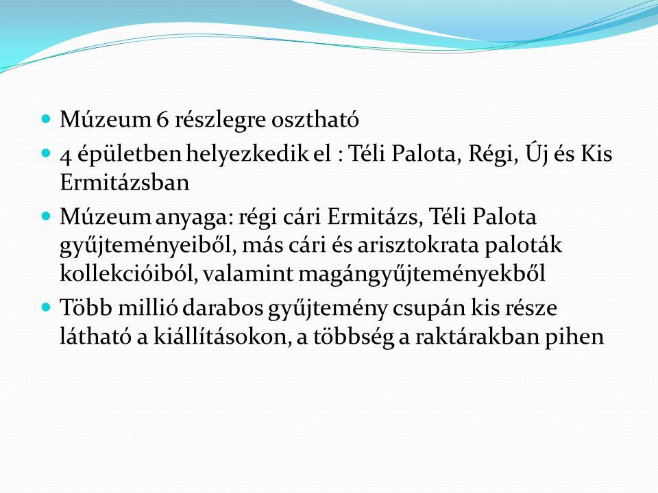 Múzeum 6 részlegre osztható 4 épületben helyezkedik el : Téli Palota, Régi, Új és Kis Ermitázsban Múzeum anyaga: régi cári Ermitázs, Téli Palota gyűjt