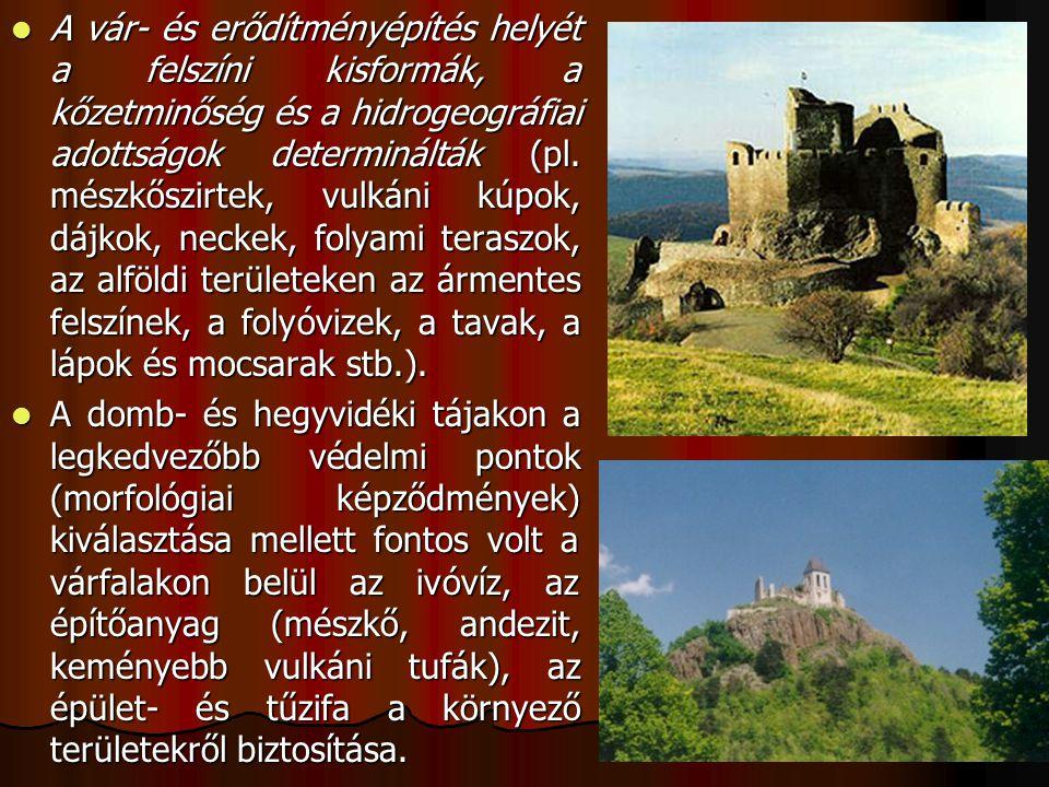 A vár- és erődítményépítés helyét a felszíni kisformák, a kőzetminőség és a hidrogeográfiai adottságok determinálták (pl. mészkőszirtek, vulkáni kúpok