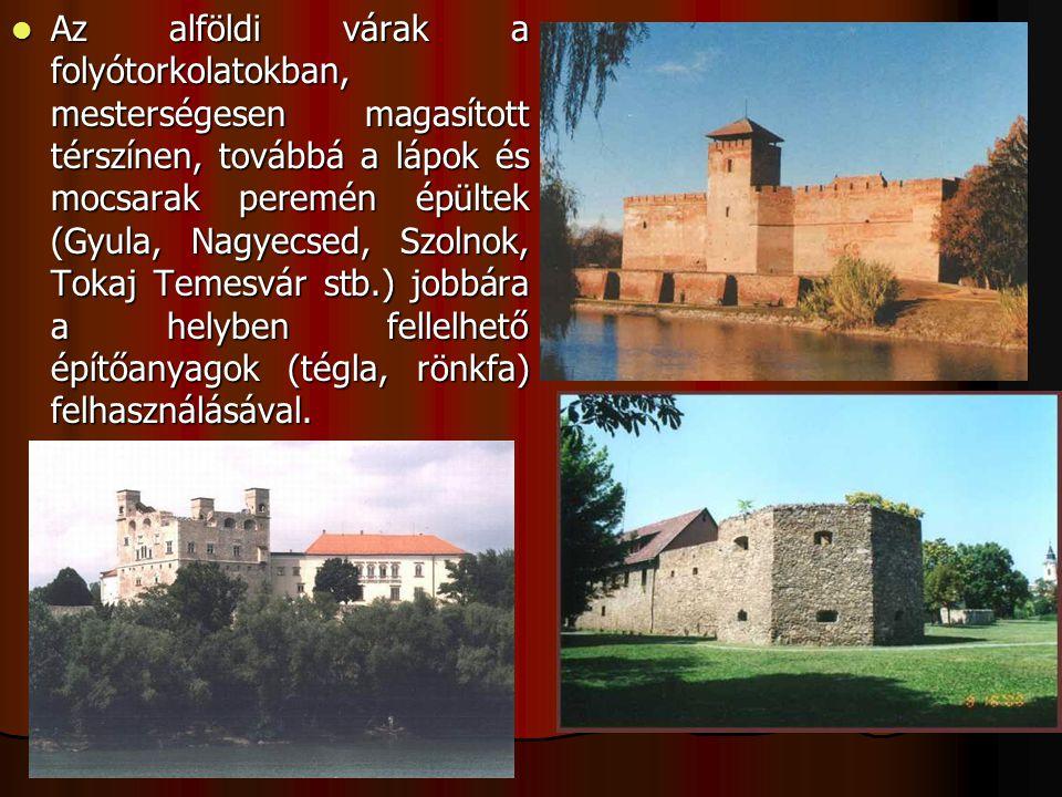 Az alföldi várak a folyótorkolatokban, mesterségesen magasított térszínen, továbbá a lápok és mocsarak peremén épültek (Gyula, Nagyecsed, Szolnok, Tok