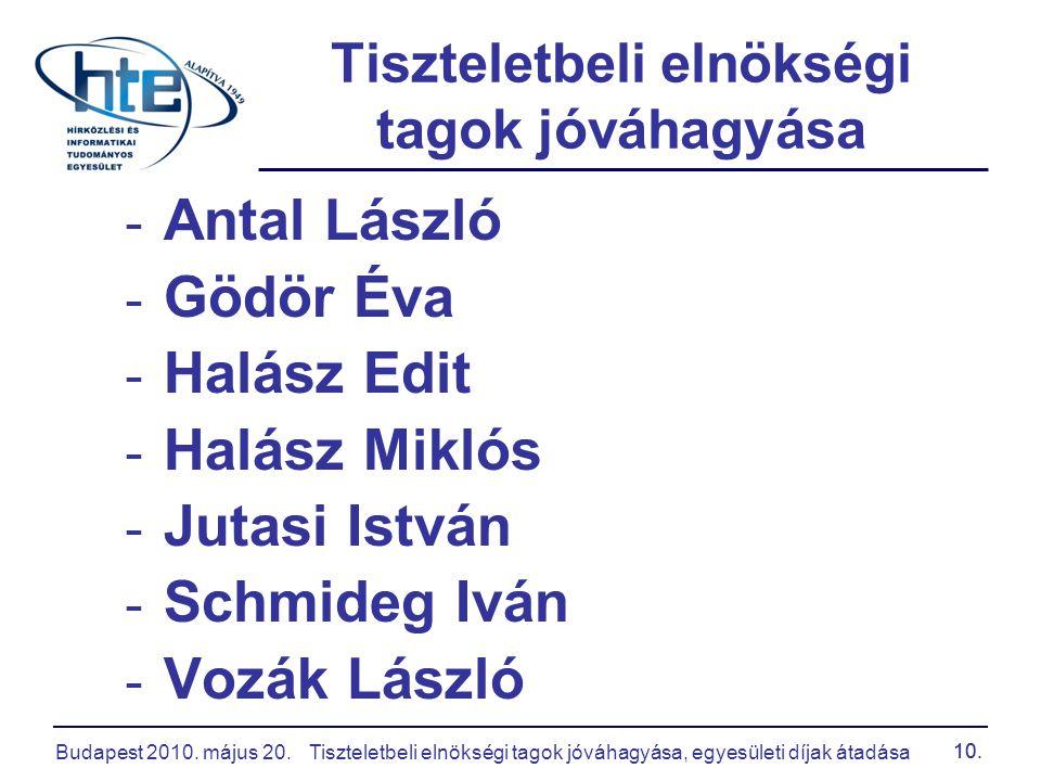Budapest 2010. május 20.Tiszteletbeli elnökségi tagok jóváhagyása, egyesületi díjak átadása 10. - Antal László - Gödör Éva - Halász Edit - Halász Mikl