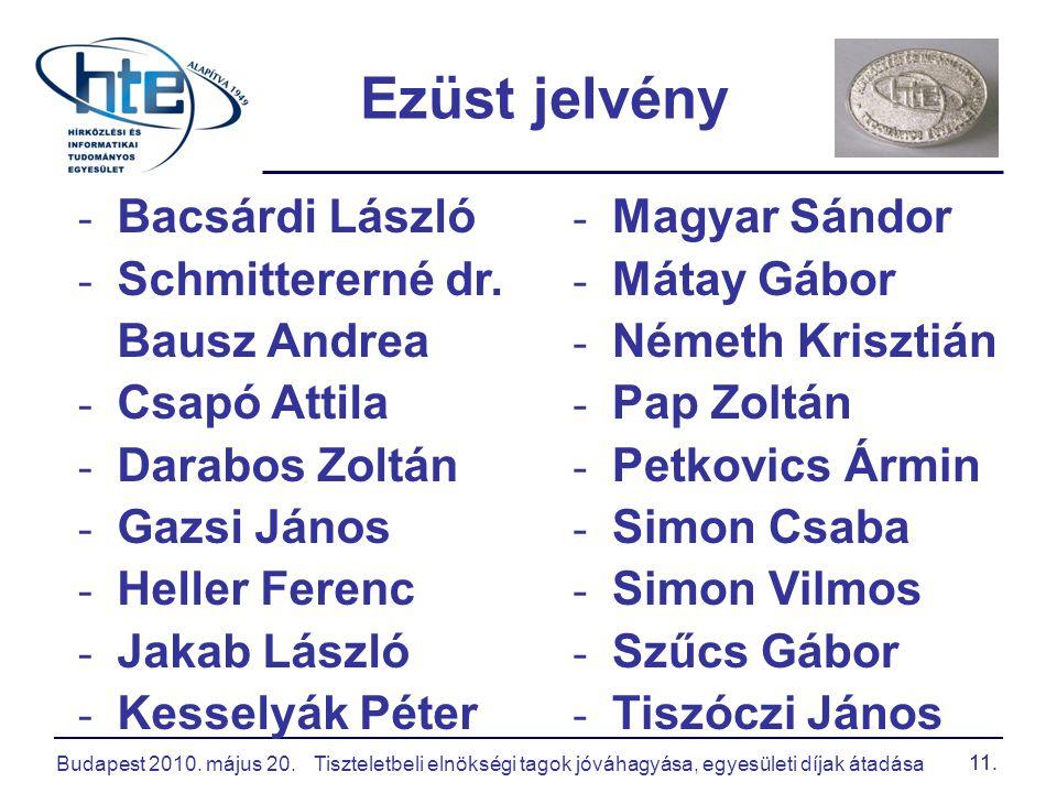 Budapest 2010. május 20.Tiszteletbeli elnökségi tagok jóváhagyása, egyesületi díjak átadása 11. - Bacsárdi László - Schmittererné dr. Bausz Andrea - C