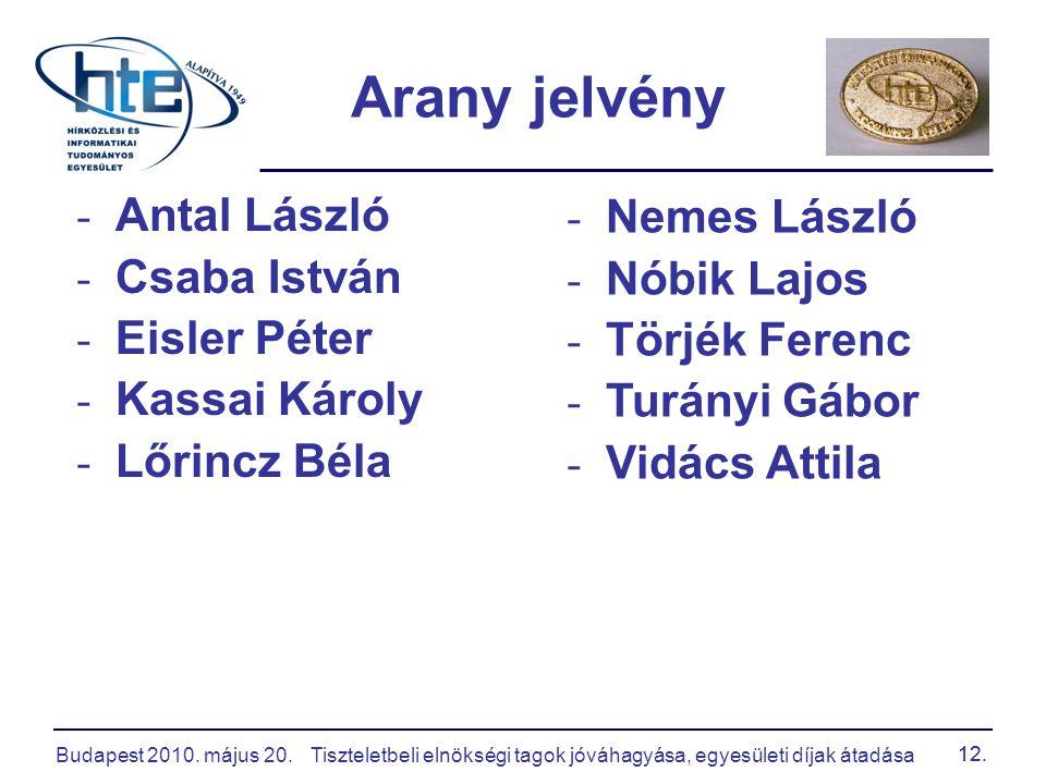 Budapest 2010. május 20.Tiszteletbeli elnökségi tagok jóváhagyása, egyesületi díjak átadása 12. - Antal László - Csaba István - Eisler Péter - Kassai