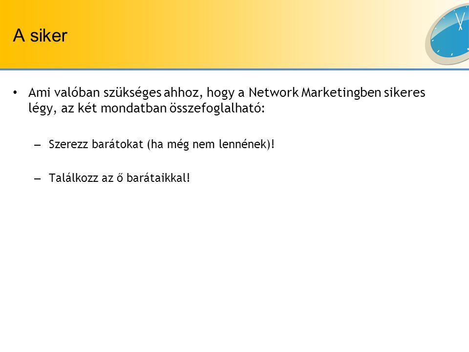 A siker Ami valóban szükséges ahhoz, hogy a Network Marketingben sikeres légy, az két mondatban összefoglalható: – Szerezz barátokat (ha még nem lennének).