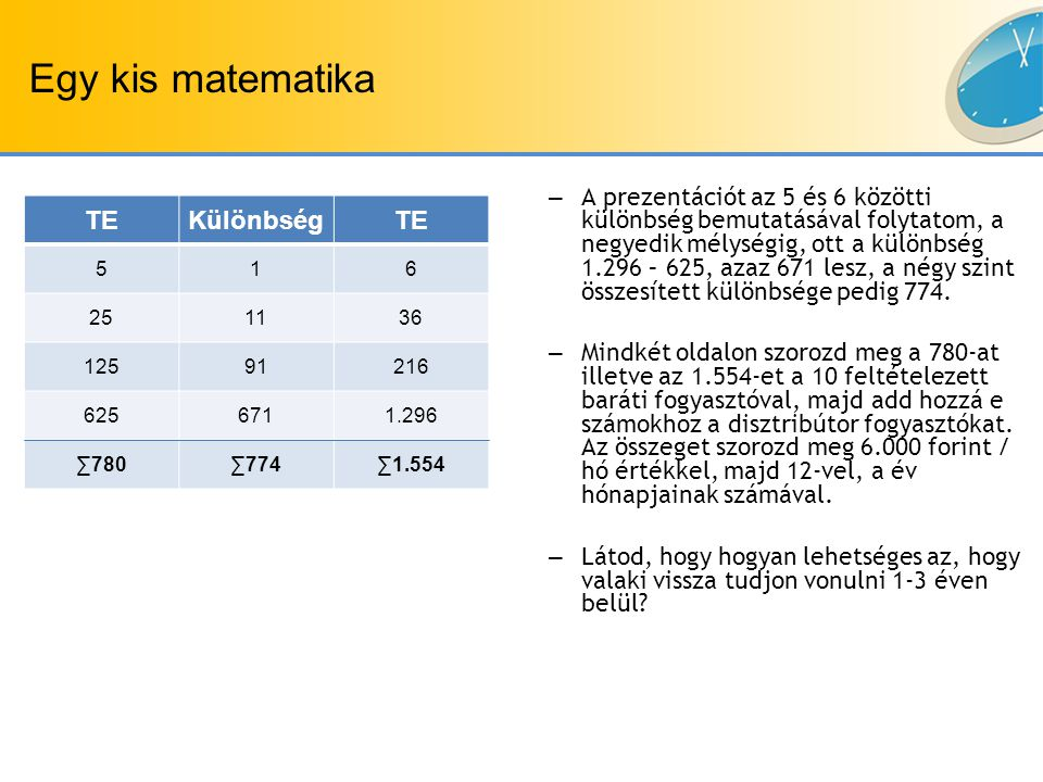 TEKülönbségTE 516 251136 12591216 6256711.296 ∑780∑774∑1.554 Egy kis matematika – A prezentációt az 5 és 6 közötti különbség bemutatásával folytatom, a negyedik mélységig, ott a különbség 1.296 – 625, azaz 671 lesz, a négy szint összesített különbsége pedig 774.