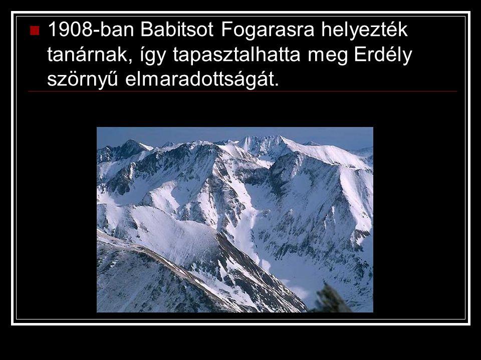 1908-ban Babitsot Fogarasra helyezték tanárnak, így tapasztalhatta meg Erdély szörnyű elmaradottságát.