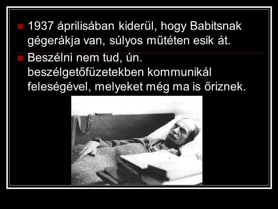 1937 áprilisában kiderül, hogy Babitsnak gégerákja van, súlyos műtéten esik át. Beszélni nem tud, ún. beszélgetőfüzetekben kommunikál feleségével, mel