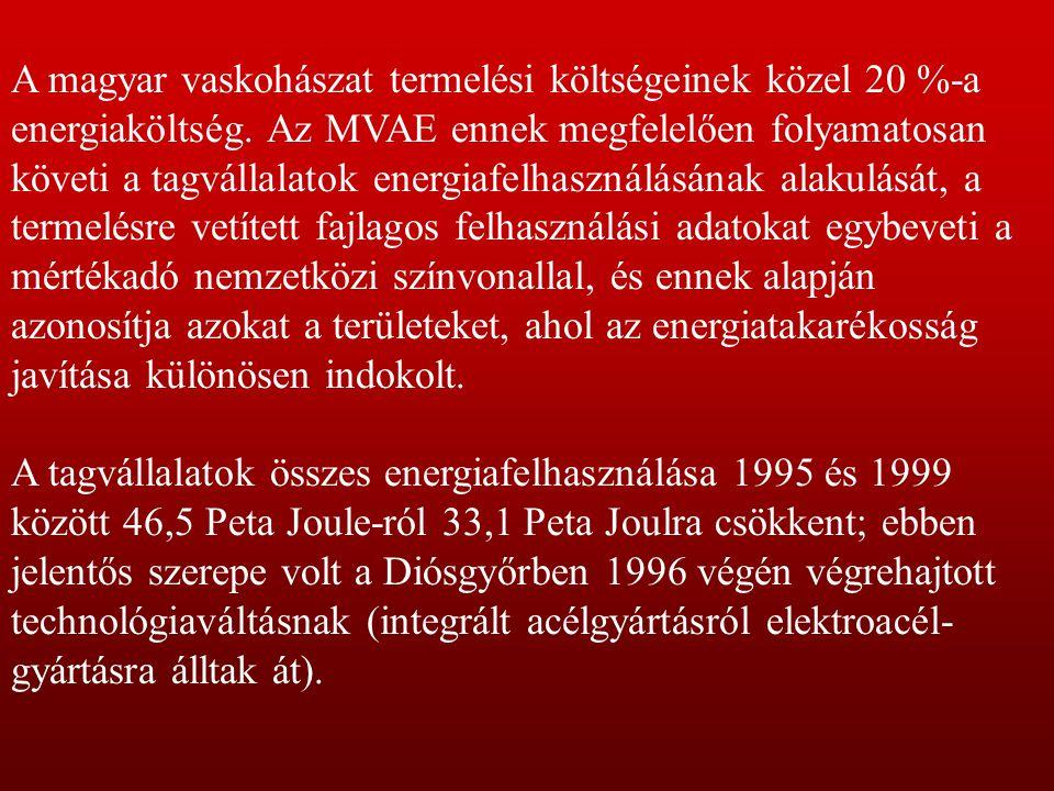 A magyar vaskohászat termelési költségeinek közel 20 %-a energiaköltség. Az MVAE ennek megfelelően folyamatosan követi a tagvállalatok energiafelhaszn