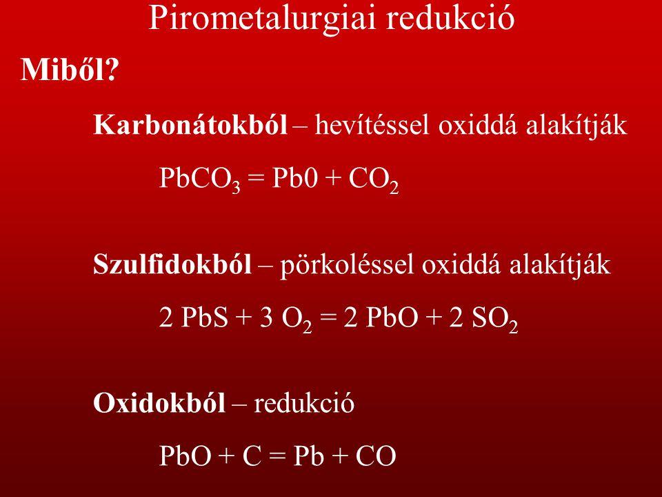 Pirometalurgiai redukció Mivel.