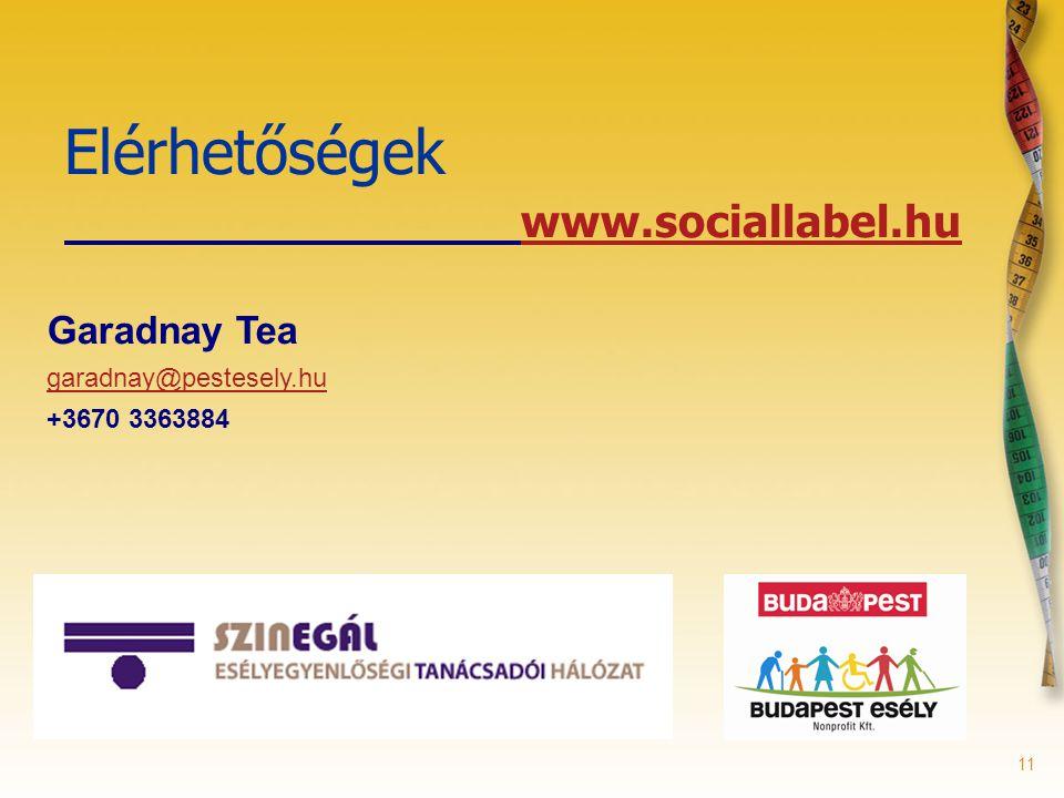 11 Elérhetőségek www.sociallabel.hu Garadnay Tea garadnay@pestesely.hu +3670 3363884