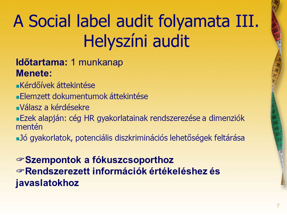 7 A Social label audit folyamata III.
