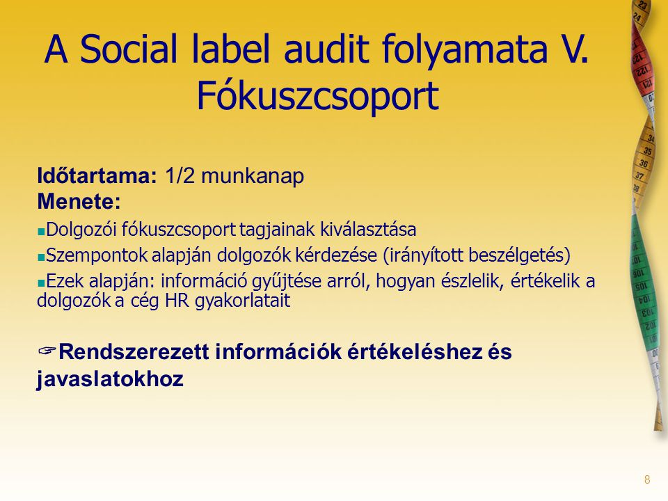 8 A Social label audit folyamata V.